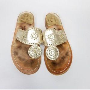 JACK ROGERS Hamptons gold thong sandals size 7